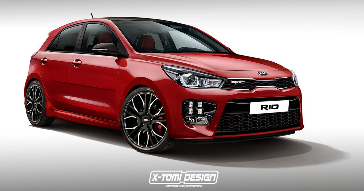 2017 kia rio gt rendering transforms new hatch into pocket rocket. Black Bedroom Furniture Sets. Home Design Ideas