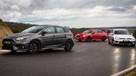 Ford Focus RS v Subaru WRX STI v Volkswagen Golf R Comparison:: Track Test