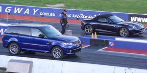 Jaguar F-Type R AWD Convertible v Range Rover Sport SVR drag race