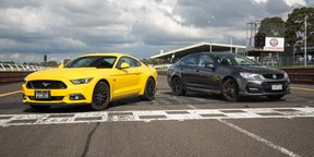 Ford Mustang GT Fastback v Holden Commodore SS V Redline - Sandown Sound-off