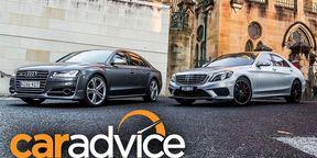 Mercedes-Benz S63 AMG v Audi S8: Drag Race