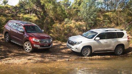 2016 Ford Everest Titanium v Toyota Prado VX off road comparison review