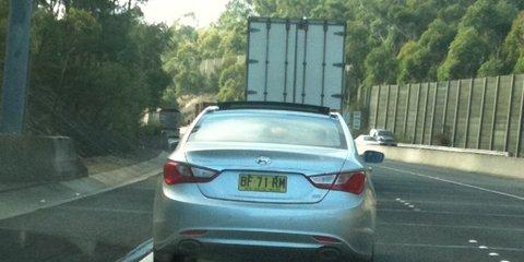 2010 Hyundai i45 spy photos, testing in Sydney this morning