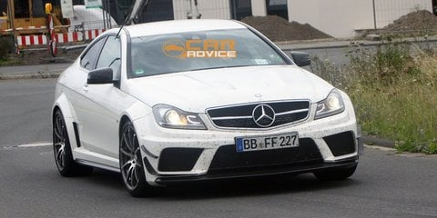 2012 Mercedes-Benz C 63 AMG Coupe Black Series spied with aero kit