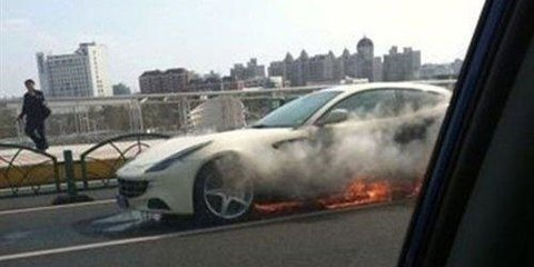 Ferrari FF catches fire in China