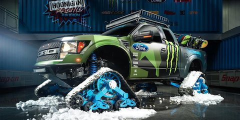 Ken Block unleashes Ford F-150 RaptorTrax snowcat
