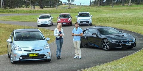 Electric cars comparison : BMW i8 v Holden Volt v Mitsubishi PHEV v Nissan Leaf v Toyota Prius