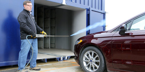 Ford creates mobile wind tunnel housed in shipping containers