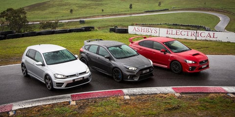 Ford Focus RS v Subaru WRX STI v Volkswagen Golf R Comparison:: Track Test