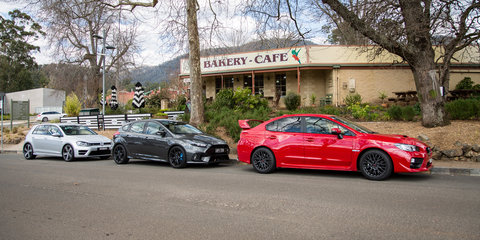 Ford Focus RS v Subaru WRX STI v Volkswagen Golf R Comparison:: Road Test