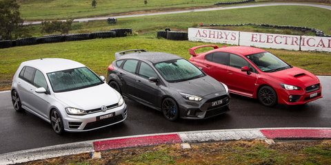 Focus RS v Golf R v WRX STI Comparison: Track Test