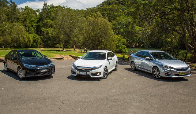 2017 Toyota Corolla Ascent v 2017 Honda Civic VTi-S v 2017 Subaru Impreza 2.0i-L comparison