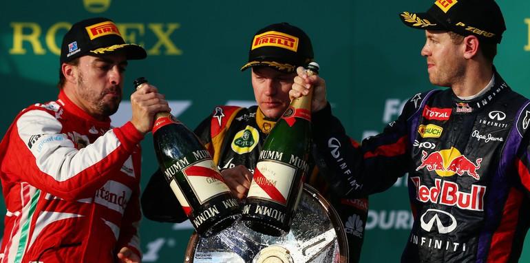 Fernando Alonso, Kimi Raikkonen and Sebastian Vettel - Winners