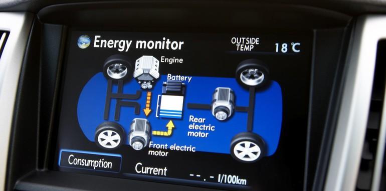 2006 Lexus RX400h power-flow display