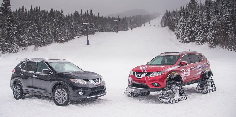 nissan rogue warrior tackles ski slopes with track conversion. Black Bedroom Furniture Sets. Home Design Ideas