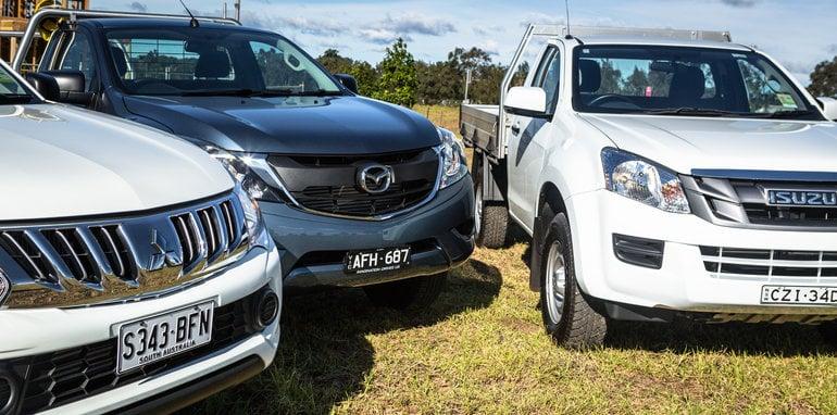 2016 Single-cab ute comparison Isuzu D-Max SX Mazda BT-50 XT Mitsubishi Triton GLX Nissan Navara DX Toyota HiLux Workmate-344