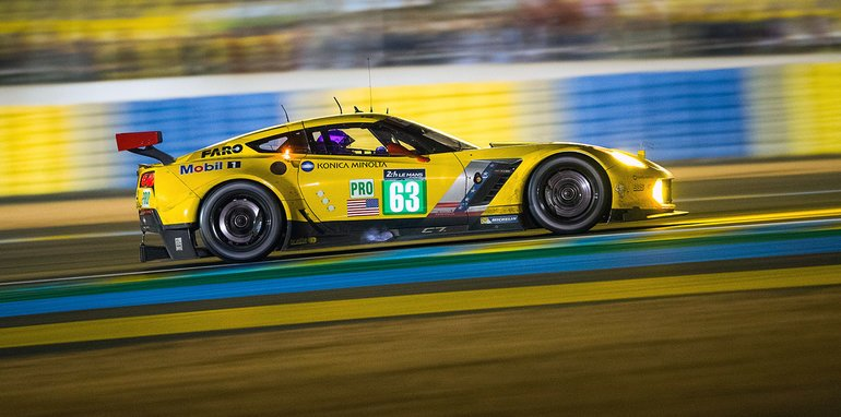 The #63 Konica Minolta/Mobil 1/Sirius-XM Chevrolet Corvette C7.R, driven by Antonio Garcia, Jan Magnussen and Ricky Taylor races in the GTE Pro class Saturday, June 18, 2016 during the 24 Hours of Le Mans IMSA WeatherTech SportsCar Championship endurance race at Circuit de la Sarthe in Le Mans, France. (Photo by Richard Prince for Chevy Racing)