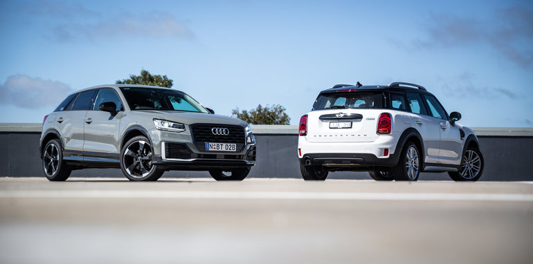 audi q2 1 4 tfsi v mini cooper countryman comparison. Black Bedroom Furniture Sets. Home Design Ideas