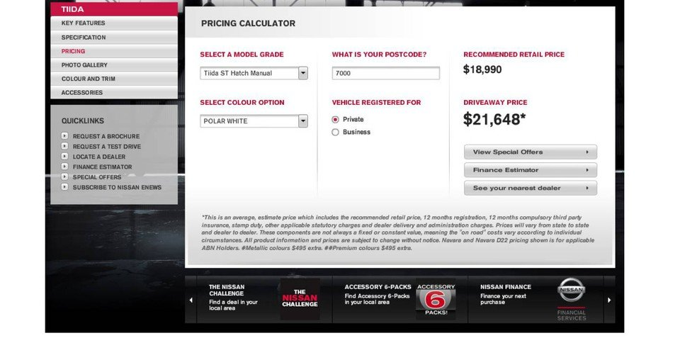 Nissan launches online pricing calculator