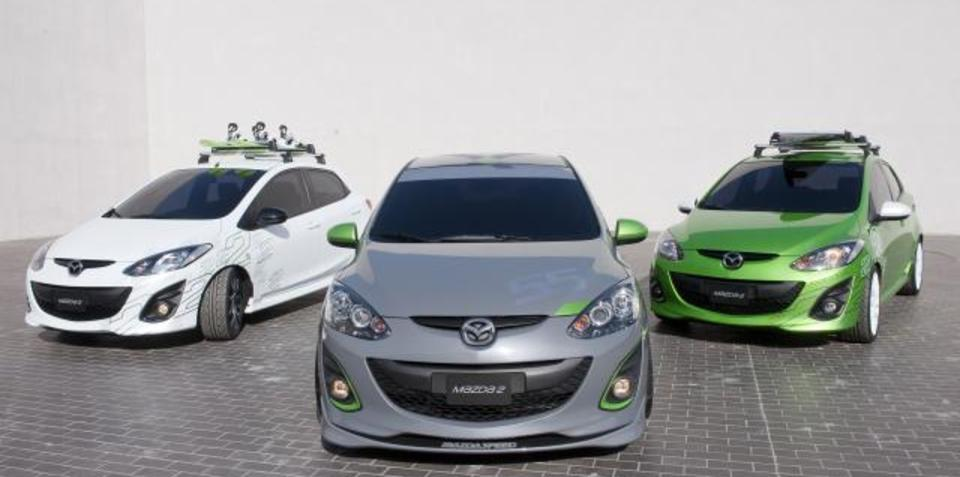Mazda2 concept trio in Los Angeles, possible MPS variant