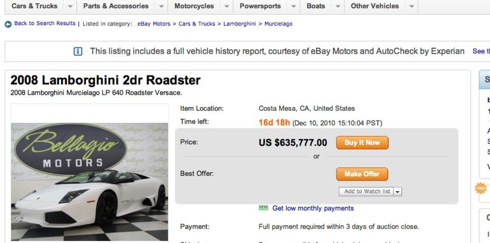 Lamborghini Murcielago Roadster Versace rare find on eBay