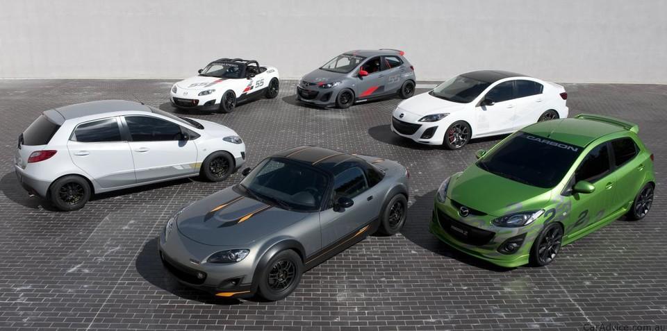 Mazda MX-5 Cup Car, Mazda2 Street, Mazda3 Turbo sedan models at SEMA show
