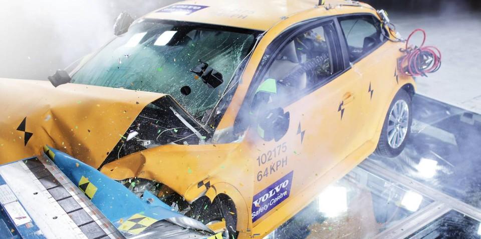Volvo C30 Electric crash test exhibit at Detroit Auto Show