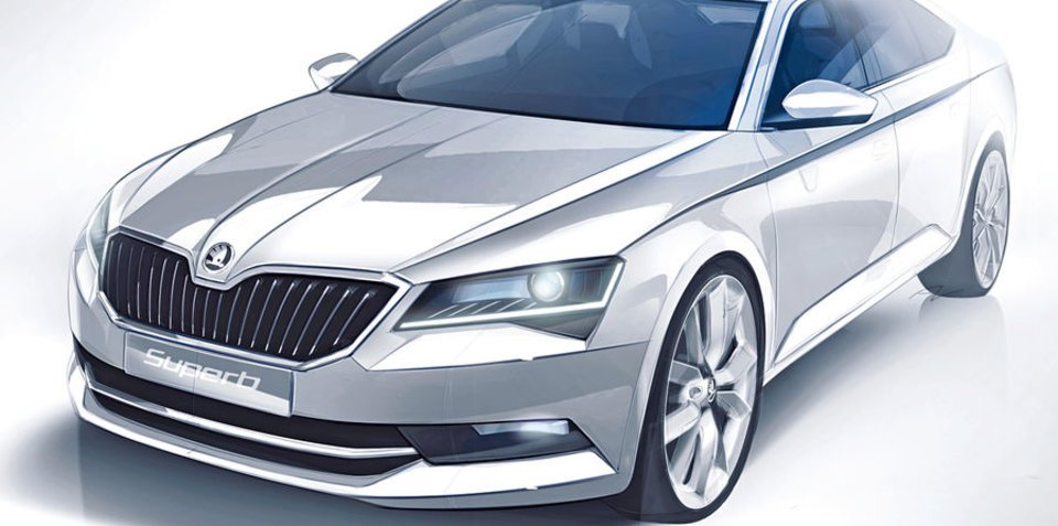 2015 Skoda Superb: new sketch reveals design details