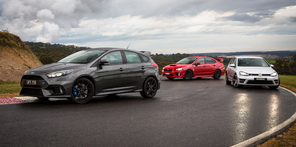 Ford Focus RS v Subaru WRX STI v Volkswagen Golf R Comparison: Track Test