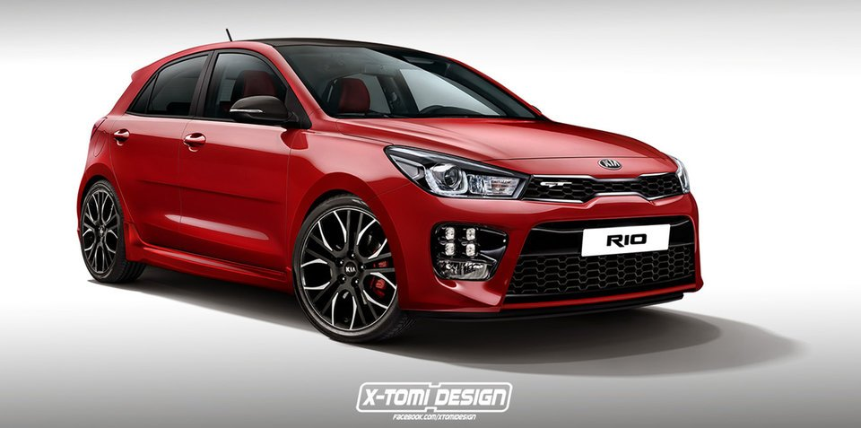 2017 Kia Rio GT rendering transforms new hatch into pocket rocket