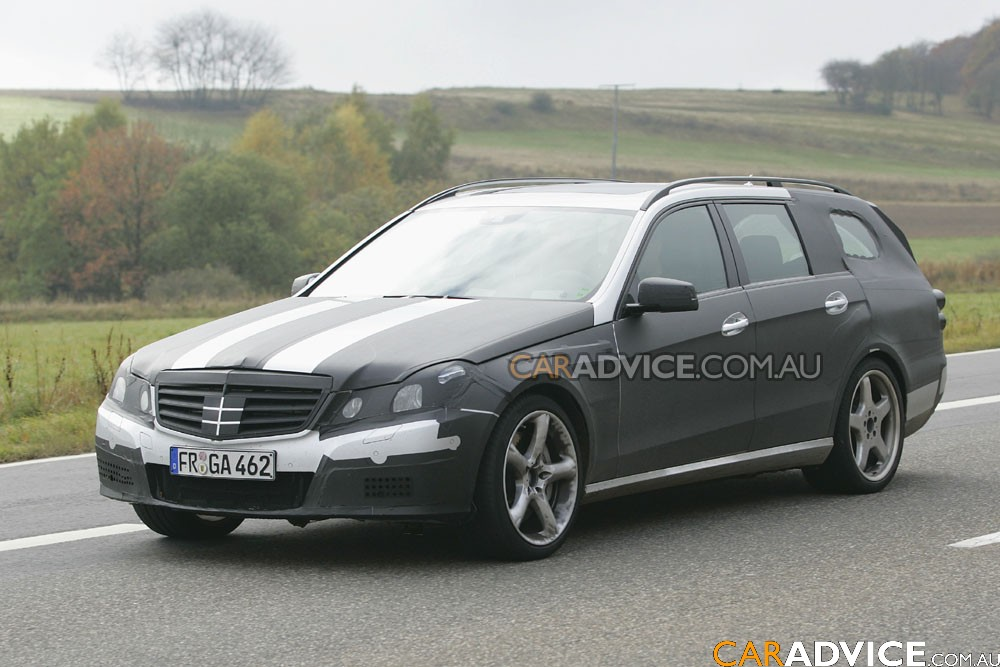 2010 mercedes benz e63 amg estate spied photos 1 of 8. Black Bedroom Furniture Sets. Home Design Ideas