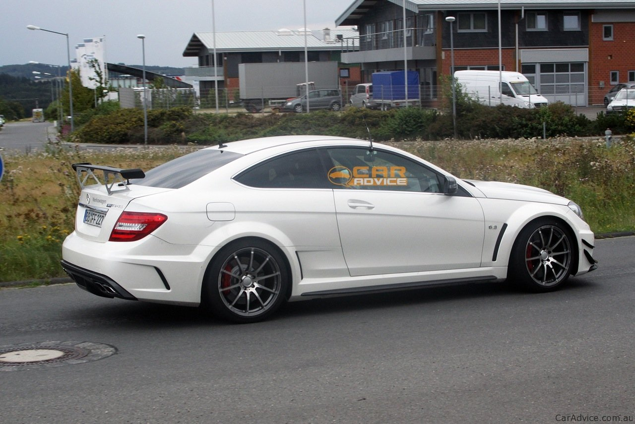 2012 mercedes benz c 63 amg coupe black series spied with for Mercedes benz amg kit