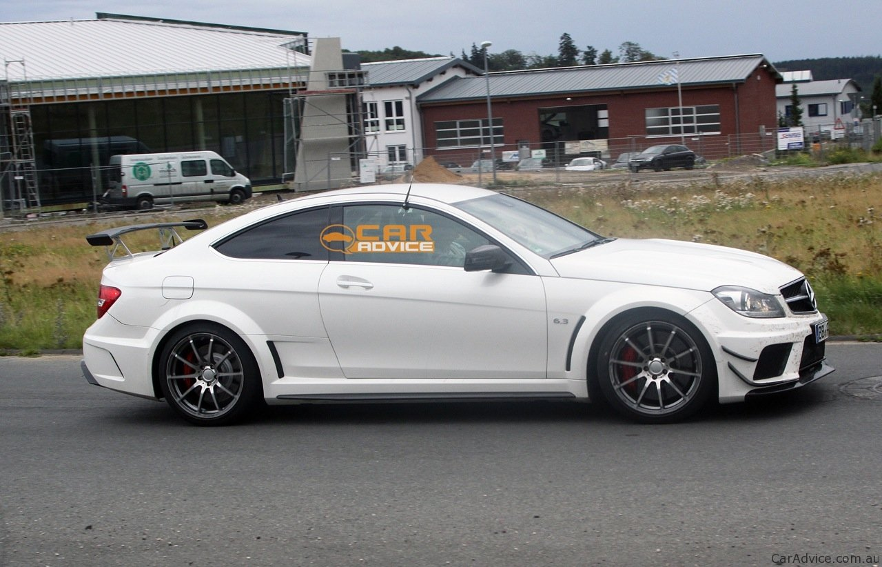 2012 mercedes benz c 63 amg coupe black series spied with aero kit photos 1 of 8. Black Bedroom Furniture Sets. Home Design Ideas