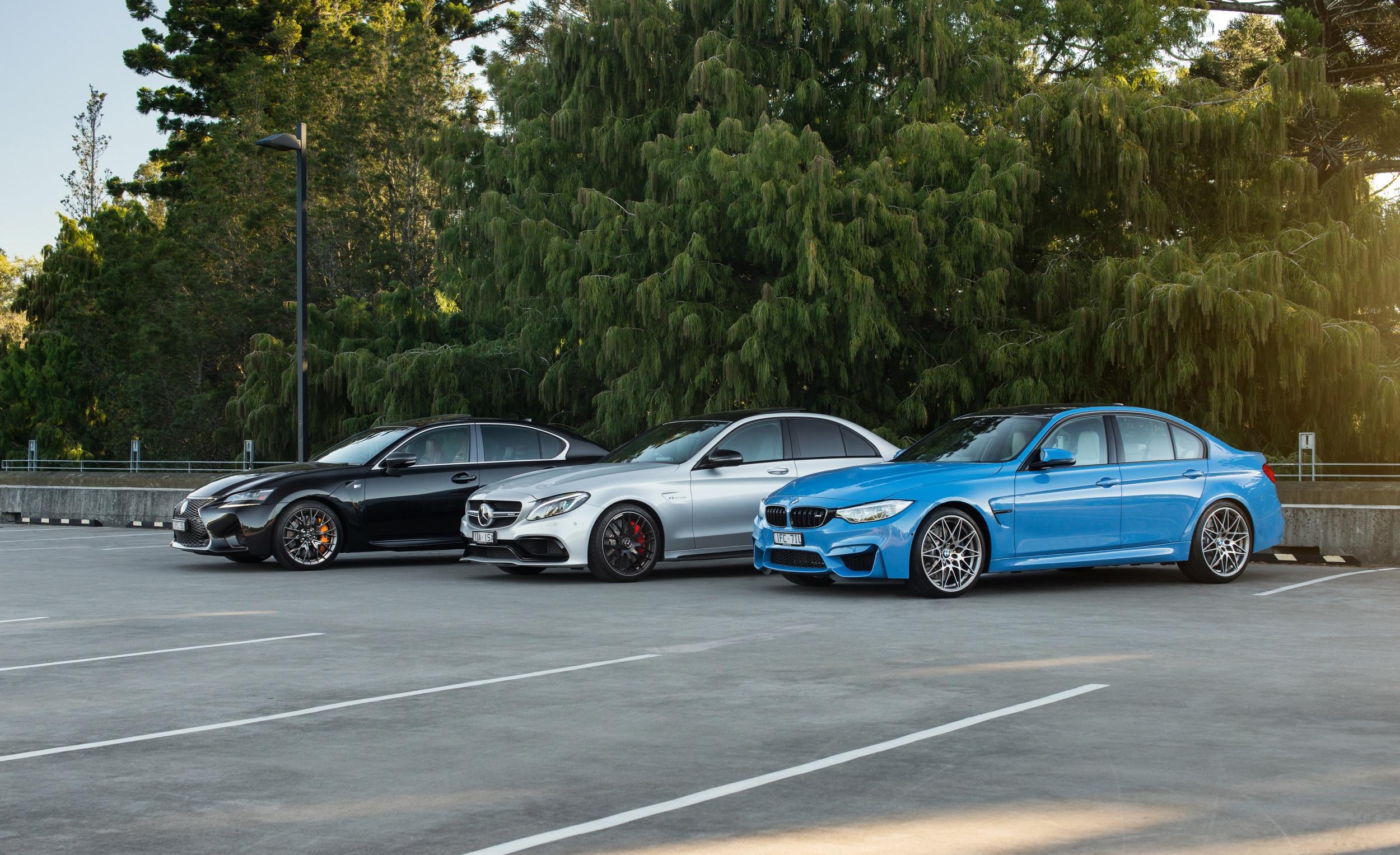 Bmw m3 v lexus gs f v mercedes amg c63 s comparison for Mercedes benz gs