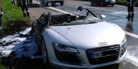 Audi R8 Up In Flames