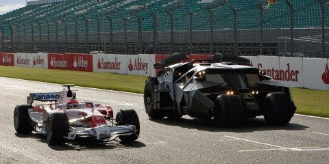 Batmobile races Toyota F1 car at Silverstone