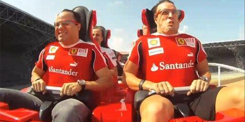 Video: Ferrari World roller coaster ride with Felipe Massa and Fernando Alonso