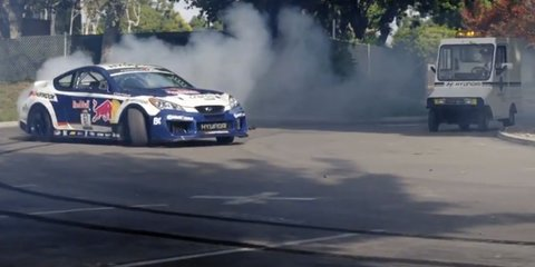 Rhys Millen drifting in Hyundai Genesis 'heist' film