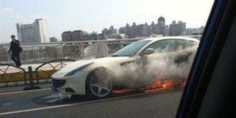 Ferrari FF catches fire in China