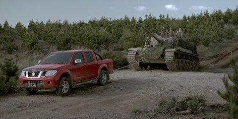 Nissan Navara tows tank in new TV ad