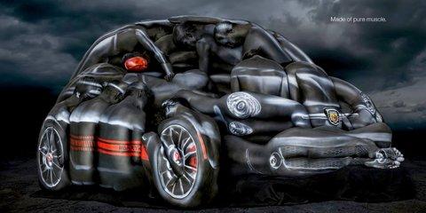 Fiat 500 Abarth Cabrio built from body art