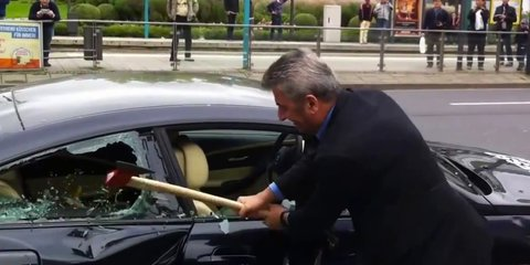 BMW M6: disgruntled owner attacks sports car with sledgehammer