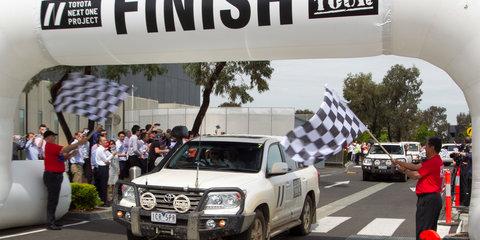 Toyota global president Akio pedals a turbo 86 rally car before waving goodbye to Australia