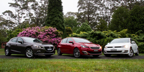 Small car comparison : Mazda 3 v Peugeot 308 v Volkswagen Golf