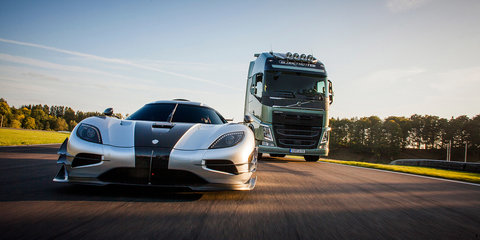 Volvo FH truck takes on Koenigsegg One:1 hypercar in race track battle