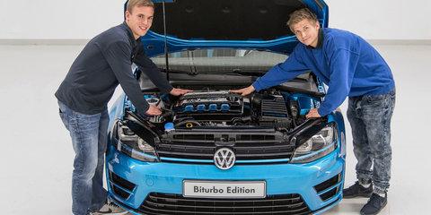 Volkswagen Golf Biturbo Wagon is a black and blue torque monster