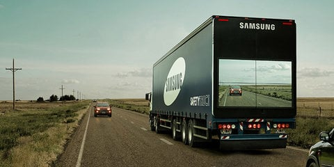 Samsung Safety Truck makes semi-trailer partially transparent to improve overtaking safety