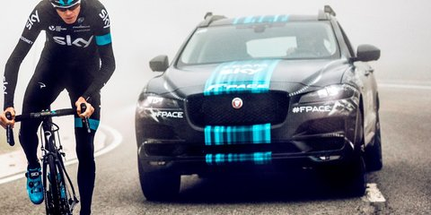 Jaguar F-Pace SUV 'prototype' revealed in Sky Cycling livery
