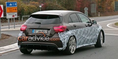 2017 Mercedes-AMG A45 spied with fat guards: S or Black Series sendoff could be in the works