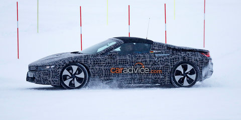 BMW i8 roadster spied again